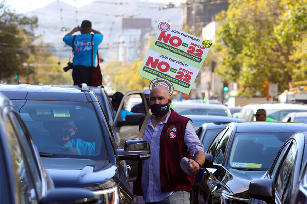 Drivers gathered  in San Francisco last year to urge voters to reject an initiative that would exempt Uber, Lyft and other gig companies from a state employment law.