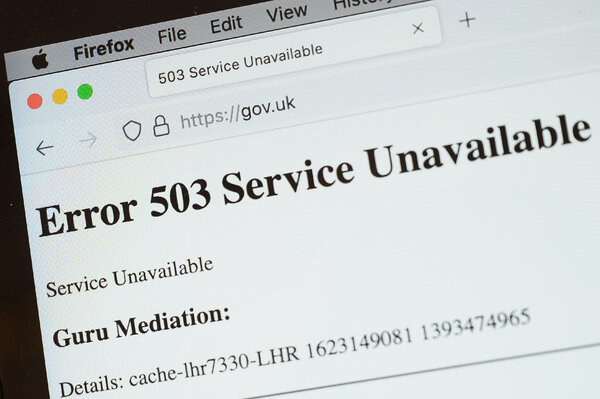 The British government's main website was offline during the outage.