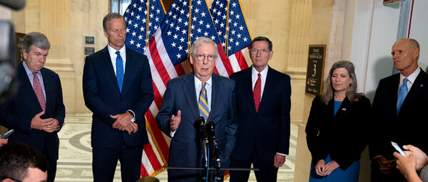 Senator Mitch McConnell, Republican of Kentucky and the minority leader, with other Republican senators at the Capitol on Tuesday.