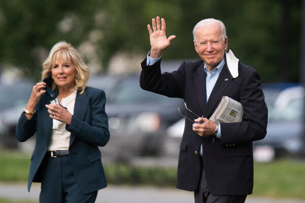 President Biden and the first lady, Jill Biden, on Wednesday, shortly before the president's first trip abroad.