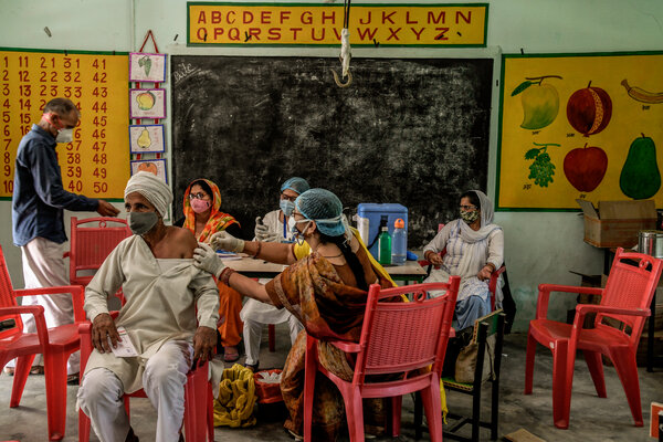 A covid-19 vaccination center in Sultanpur village in Utter Pradesh, India, last week.