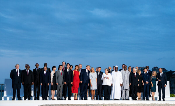 World leaders at a Group of 7 summit in Biarritz, France, in August 2019, the last time the gathering was held in person.