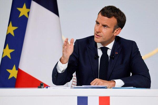 President Emmanuel Macron of France speaking in Paris on Thursday.