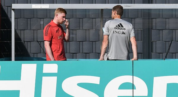 Kevin De Bruyne, left, at Belgium's training base on Thursday. He needed facial surgery after he was injured in the Champions League final.
