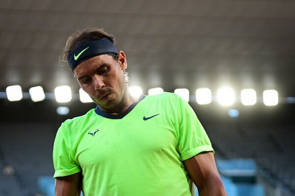 Nadal reacts during the second set.