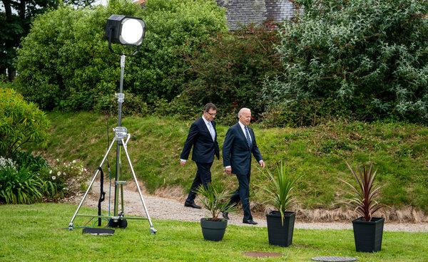 President Biden, right, with Pfizer's chief executive, Albert Bourla, at Carbis Bay, England, on Thursday.