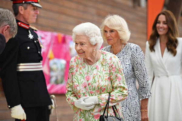 Queen Elizabeth II attending a reception and dinner at Eden Park during the G7 summit in Cornwall, England, on Friday. Camilla, the Duchess of Cornwall, and Kate, the Duchess of Cambridge, also attended.