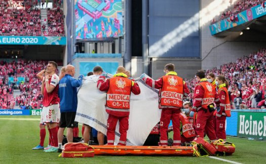 Medics surrounded Christian Eriksen during the Euro 2020 Championship Group B match between Denmark and Finland on Saturday. He was resuscitated.