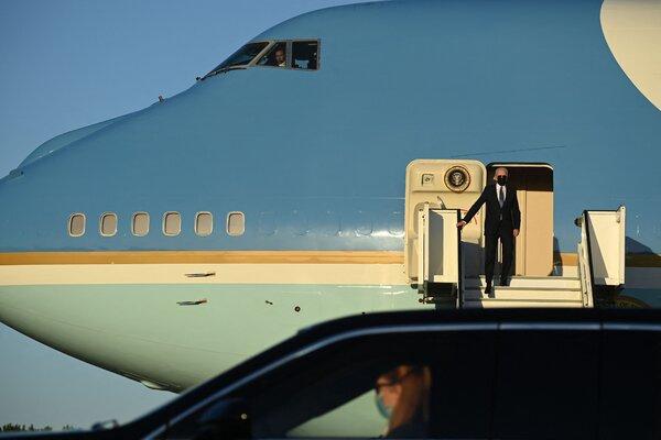 President Biden arriving at Melsbroek Military Airport near Brussels on Sunday.