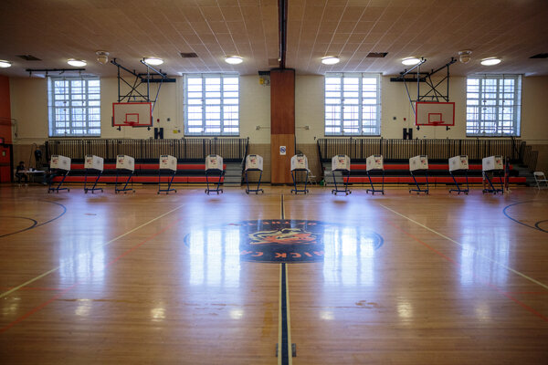 An empty gymnasiumat the Brooklyn School for Social Justice in Bushwick set up for voting on Sunday.
