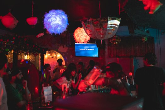 A karaoke bar in the Bushwick neighborhood of Brooklyn on Friday night, on the first full weekend without most virus restrictions.