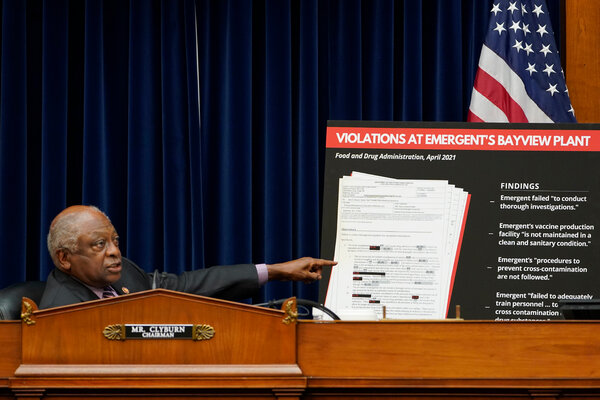 Representative James Clyburn, Democrat of South Carolina, speaking during a hearing about Emergent in Washington in May.