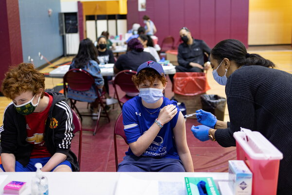A teenager receiving a Covid-19 vaccine in Philadelphia last month.Currently, the C.D.C. strongly recommends the shots for Americans ages 12 and older.