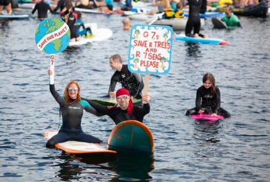 Climate activists protest during the G7 summit in Cornwall, Britain, earlier this month.