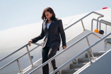 Vice President Kamala Harris arriving in Atlanta on Air Force Two last Friday.