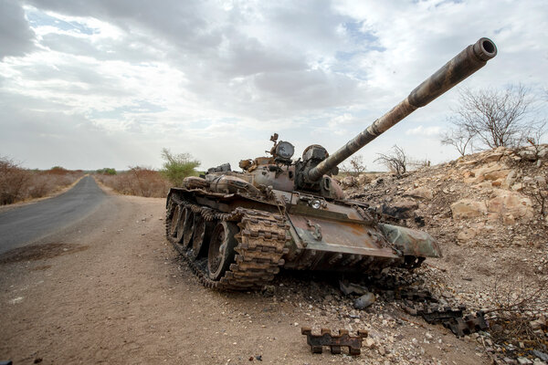 A destroyed tank in Ethiopia's Tigray region last month.