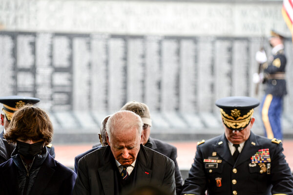 President Biden attending a Memorial Day service in Delaware in May. Mr. Biden's position on Afghanistan most likely helped him make inroads with veteran households in 2020.