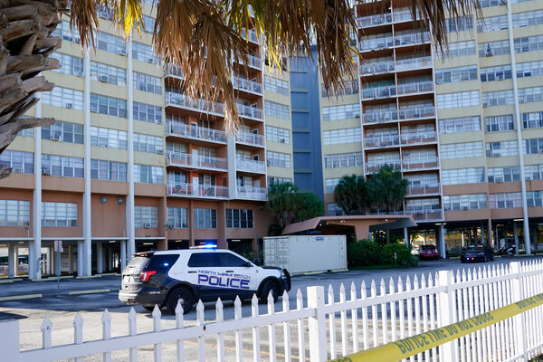 Police patrol outside Crestview Towers, above, which was evacuated Friday, in North Miami Beach, Fla., on Saturday. Another building was evacuated in Miami Beach on Saturday.