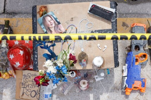 Objects at a memorial site in Surfside, Fla., on Monday.