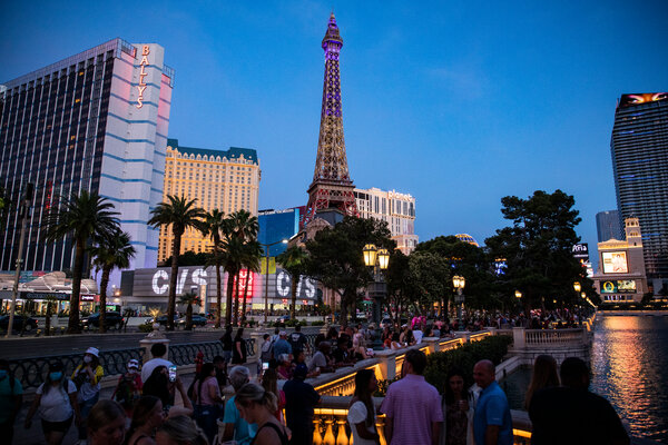 Tourists making their way up and down The Strip in Las Vegas last month.