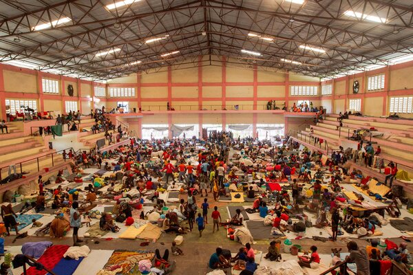 Some Port-au-Prince residents took shelter in a sports center last month after clashes broke out between two gangs.