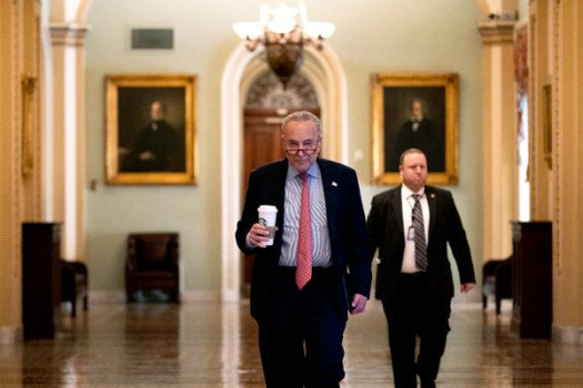 """Senator Chuck Schumer of New York, the majority leader, has been working to prepare a pair of bills addressing infrastructure and other Democratic economic priorities. """"We are proceeding on both tracks very well,"""" he said."""