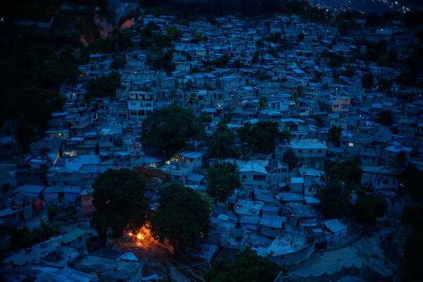 The empty streets of Port-au-Prince at dusk on Monday.