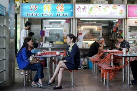 A table cordoned off for social distancing at the Amoy Street Food Center in Singapore in June.