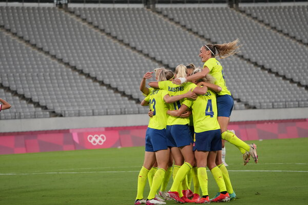 Sweden celebrated its second goal against the United States.