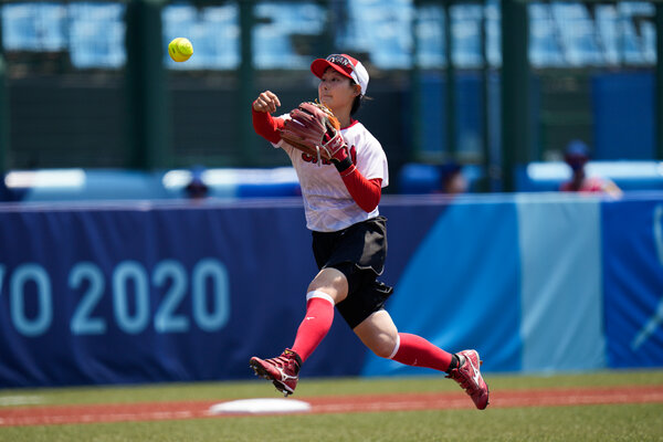 Atsumi Mana of Japan during a practice this week. Japan and Australia's game will be the first softball game in the Olympics after a 13-year hiatus.