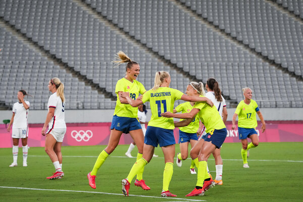 Sweden celebrated after going up 2-0 in the second half. They scored another not long after.