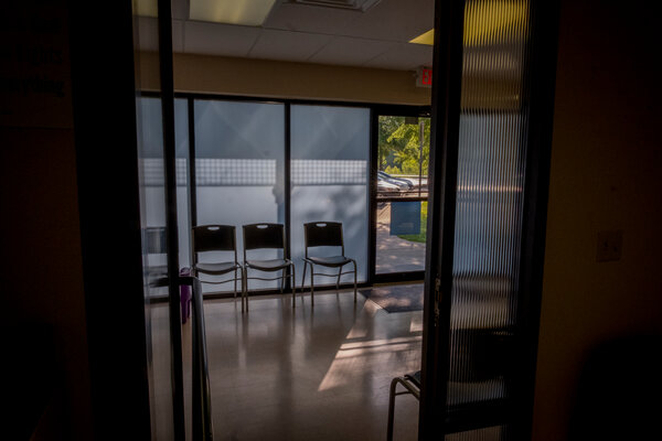 """The waiting room at Planned Parenthood Great Plains in Fayetteville, Ark., in 2018. U.S. District Judge Kristine G. Baker said the law would have caused """"imminent irreparable harm"""" to doctors and their patients."""