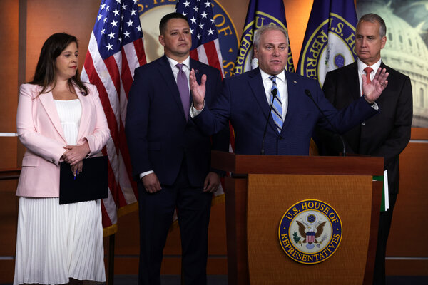 Representative Steve Scalise, the No. 2 House Republican, speaking on Tuesday. He has blamed President Biden for vaccine hesitancy.