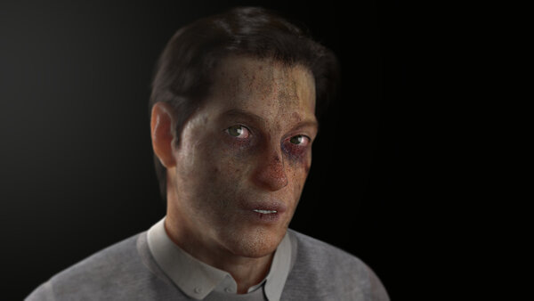 """A still from """"Safe Conduct"""" (2016). Its sole character is an avatar Atkins bought from an online marketplace, then roughed up."""