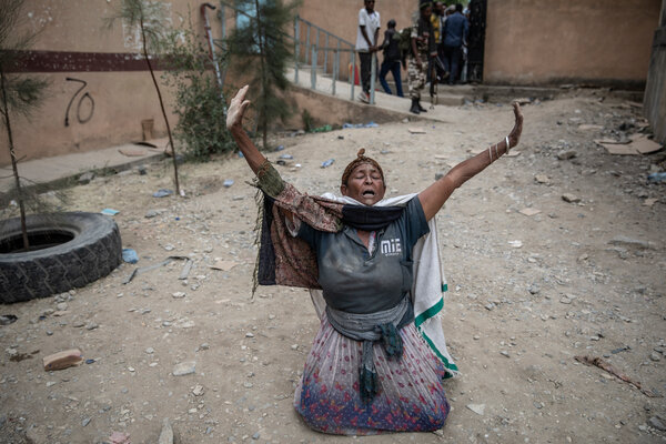 A woman in Mekelle fell to the ground and shouted thanks to Godon June 29, as it became clear that Tigrayan forces had taken control of Mekelle.