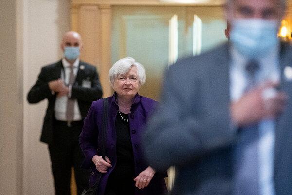 Janet Yellen, U.S. Treasury Secretary, center, departed the U.S. Capitol in Washington on Tuesday.