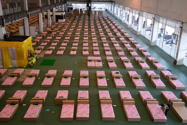 A 1,800-bed field hospital was set up inside a cargo building in Don Mueang International Airport in Bangkok, Thailand, last week.