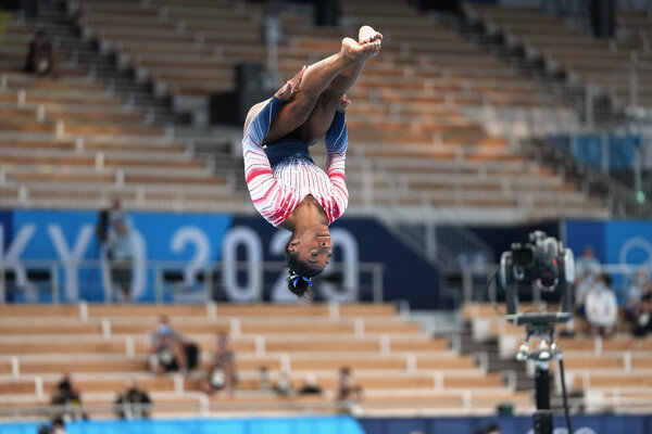 Simone Biles used a double pike dismount in her balance beam routine, which lowered her difficulty score.