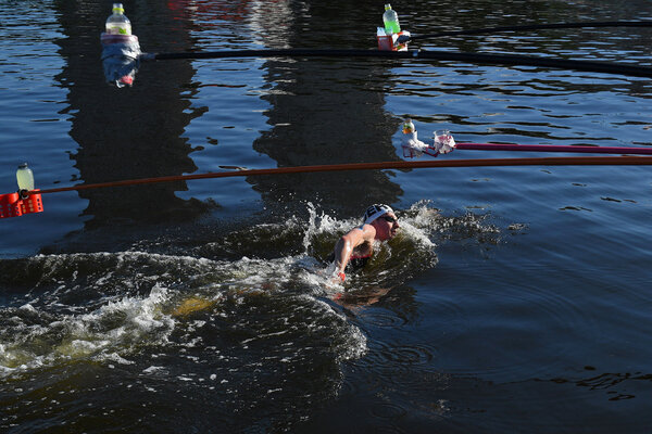 Florian Wellbrock of Germany won the gold medal in the 10-kilometer swim.