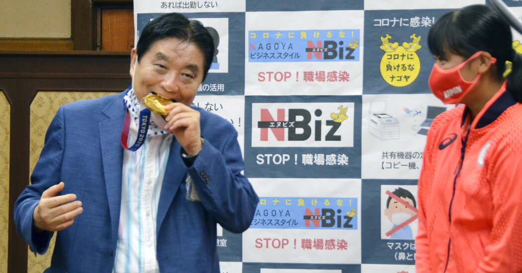 Biting your own medal is one thing. A Japanese mayor learned you don't bite someone else's.