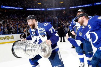 Victor Hedman, left, with the Stanley Cup. Tampa Bay won its third championship in franchise history.