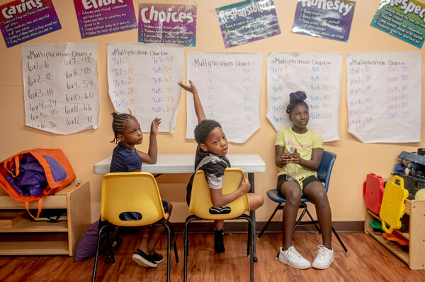 Students at Northtown Child Development Center in Jackson, Miss., a child care center where school-age children attended online classes throughout the pandemic.