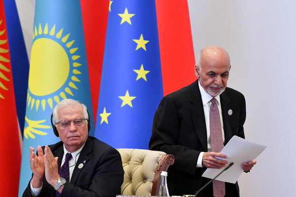 The European Union's foreign policy chief, Josep Borrell Fontelles, with President Ashraf Ghani of Afghanistan last month in Tashkent, Uzbekistan.