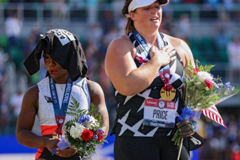 Gwen Berry turned away from the American flag during the U.S. National Anthem as a form of protest during the 2020 U.S. Olympic Track and Field Team Trials.