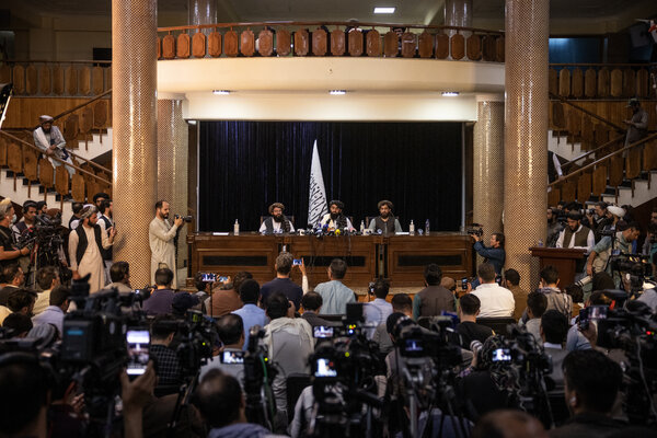 A Taliban news conference after they took control of Kabul.