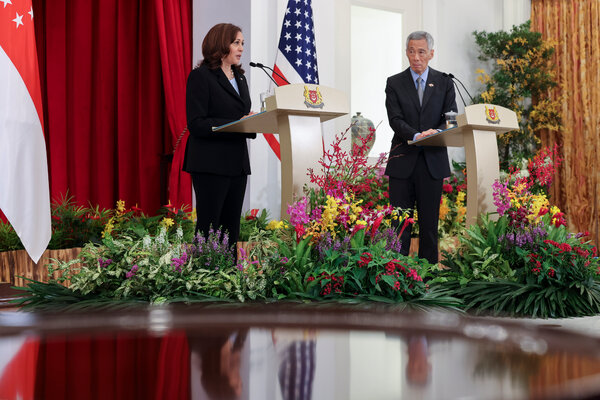Vice President Kamala Harris and Prime Minister Lee Hsien Loong ofSingapore held a news conference on Monday.