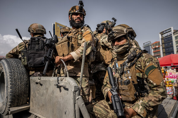 Members of the Taliban's elite commando unit on the streets of Kabul on Friday.