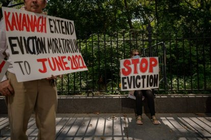 """Demonstrators rallying this month in Manhattan in favor of an extension of the federal eviction ban. The Supreme Court said Thursday that """"if a federally imposed eviction moratorium is to continue, Congress must specifically authorize it."""""""
