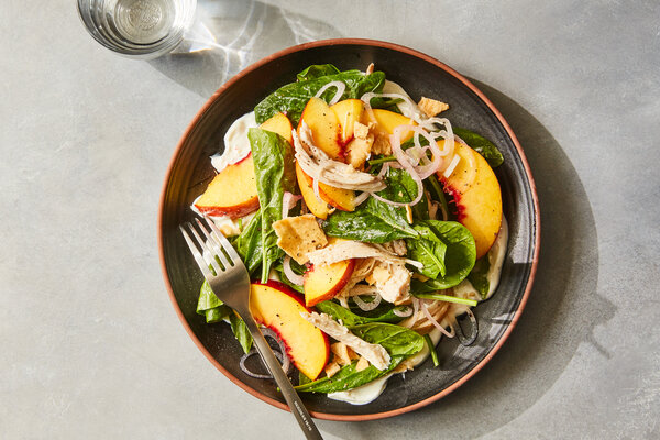 Chicken Salad With Nectarines and Goat Cheese