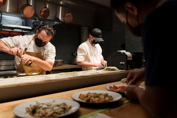 The chef Tom Colicchio has put Vallata's kitchen in the charge of a trusted lieutenant, Bryan Hunt, left.